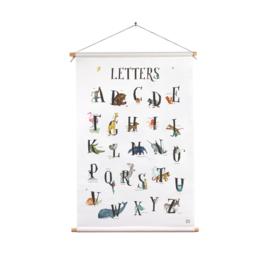 textielposter dierenalfabet  letters 45 x 70 cm