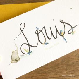 Handgescheven geboortekaartje  junglethema Louis, olifant, tropische vogel