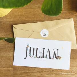 Geboortje Julian, junglekaartje, olifant, schildpad en vogeltje en bloemetjes