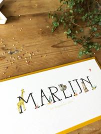 Geboortekaartje Marlijn! Giraffe luiaard en stokstaartje