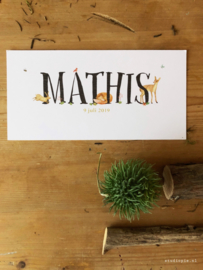 Geboortekaartje Mathis! Vrolijke bosdieren