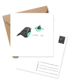 Wenskaart vogeltjes groen mint-  Lief je