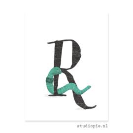 de R van REGENWORM | letterkaartje