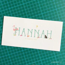 Geboortekaartje Hannah, flamingo bloemetjes en blaadjes