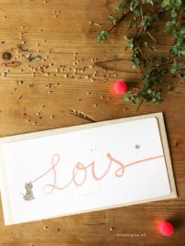 Geboortekaartje Lois! Grijze poes en handgeschreven naam in roze