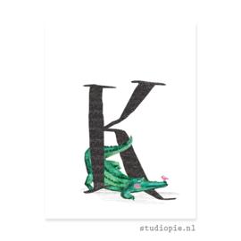 de K van KROKODIL | letterkaartje