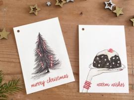 SET van 2 verschillende kerst cadeaulabeltjes