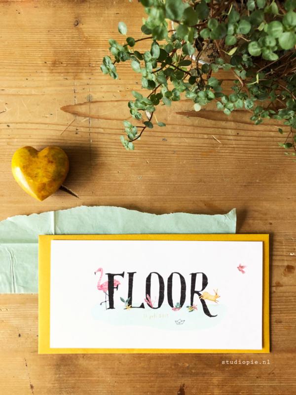Geboortekaartje Floor! Tropisch kaartje  met flamingo roze en geel