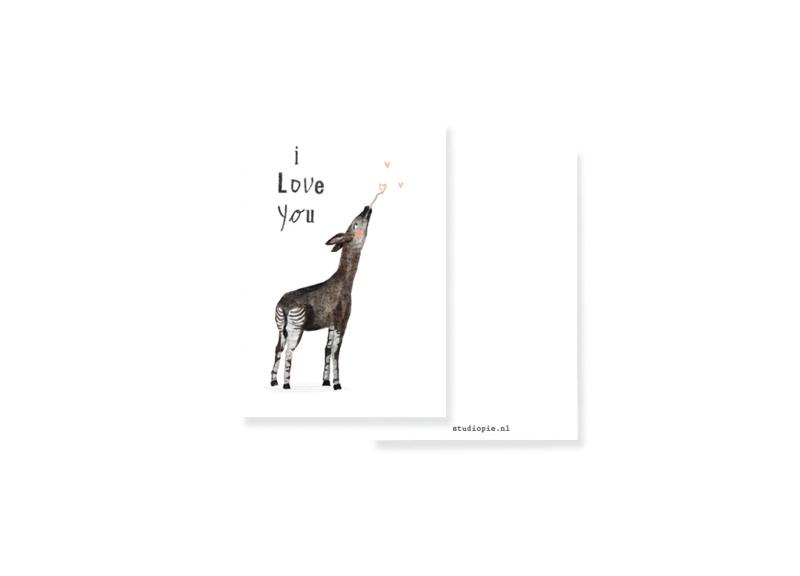 minikaartje Okapi met hartjes I love you | per 5