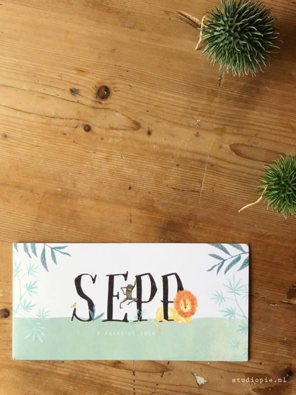 Geboortekaartje Sepp! Jungle kaartje
