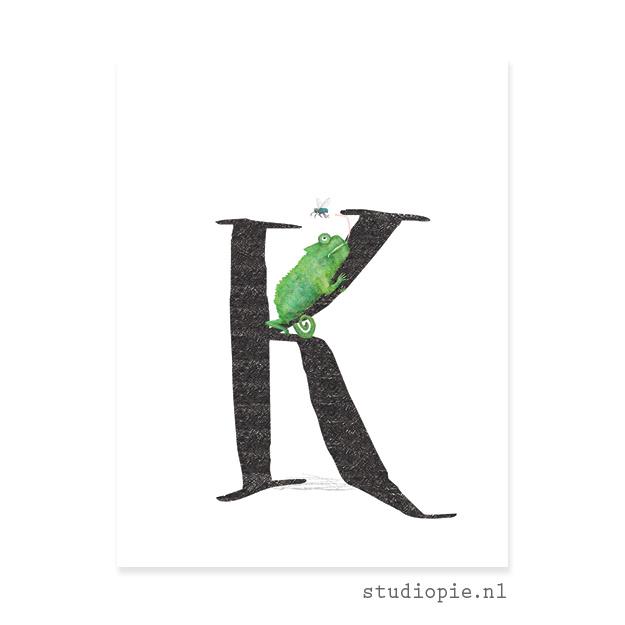 de K van KAMELEON | letterkaartje