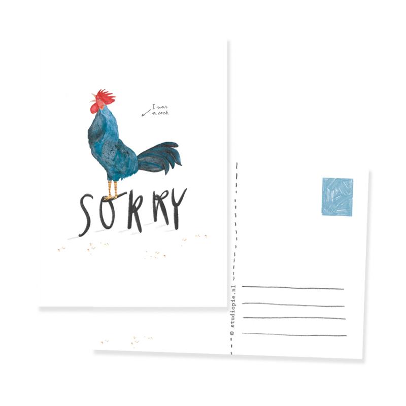 ansichtkaart met haan | SORRY
