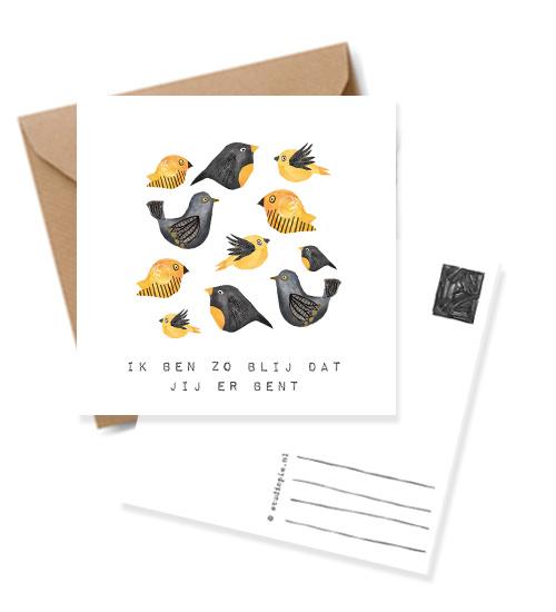 Wenskaart vogeltjes Geel met quote: ' Ik ben zo blij dat je er bent'