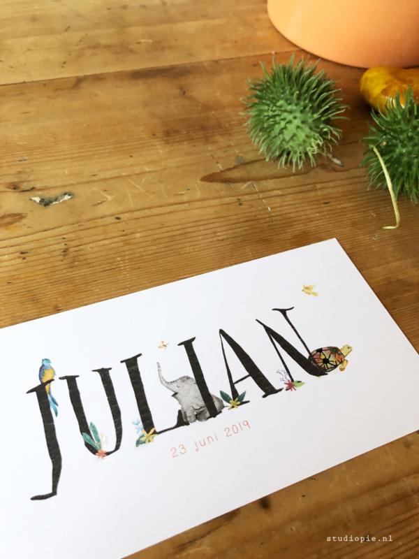Geboortekaartje Julian! Olifant schildpad jungle