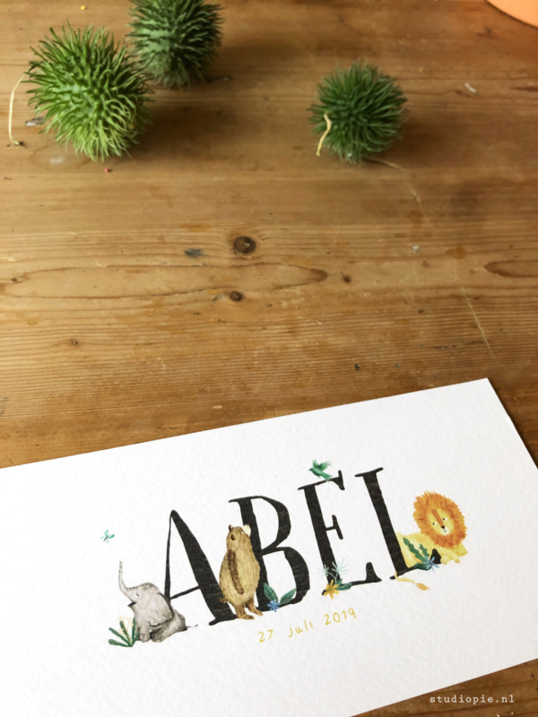 Geboortekaartje Abel! Vrolijk junglekaartje, leeuw olifant.