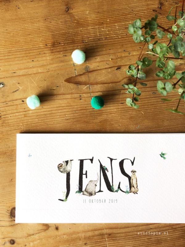 Geboortekaartje Jens! Olifant, stokstaartje