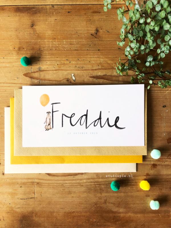 Geboortekaartje Freddie! Stokstaartje met oranje ballon