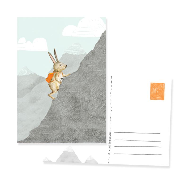 grappig kaartje  avontuur bergbeklimmende haas