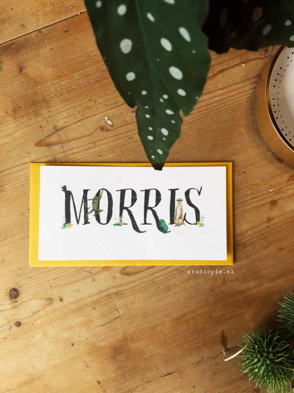 Geboortekaartje Morris !  Jungle kaartje met stokstaartje