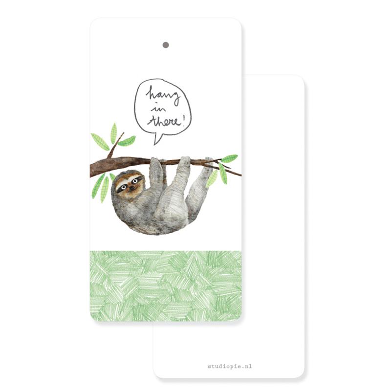 gifttag met luiaard: Hang in there!