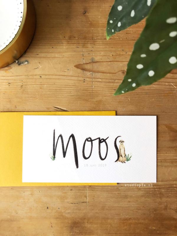 Geboortekaartje Moos! Kaartje met sierlijke letters en stokstaartje