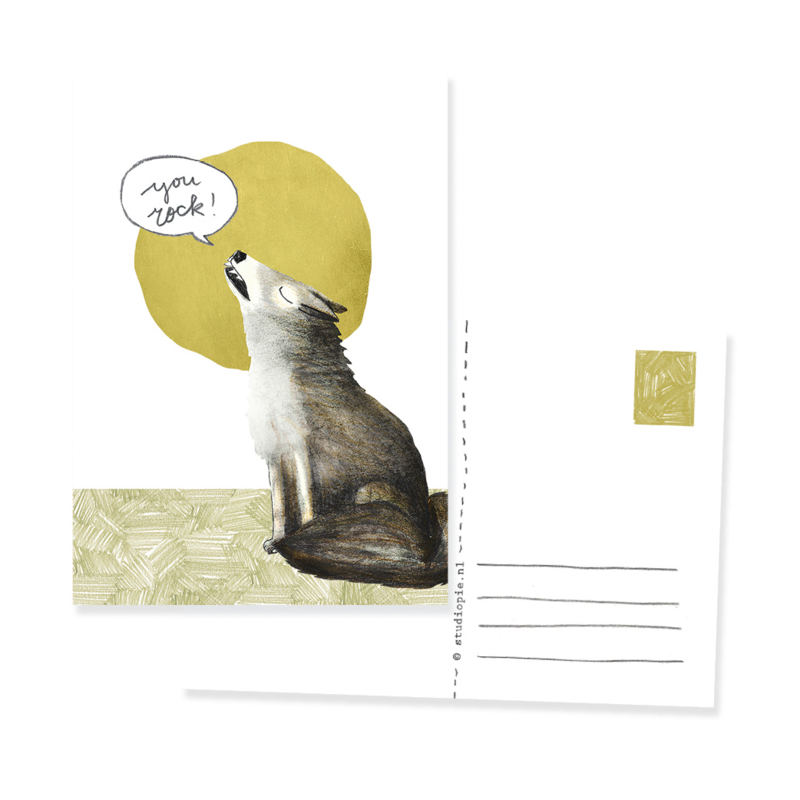 Ansichtkaartje Wolf:  You rock!