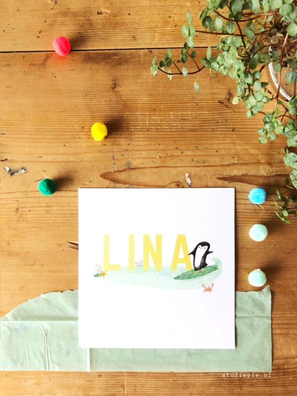 Geboortekaartje Lina! Zomers kaartje met oceaan en surfende pinguïn