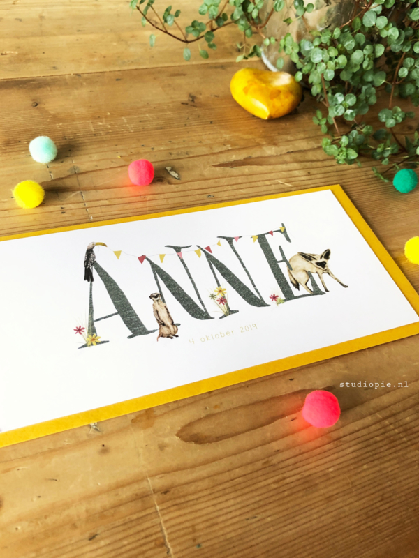 Geboortekaartje Anne! Grootoorvos en vrolijke vlaggetjes