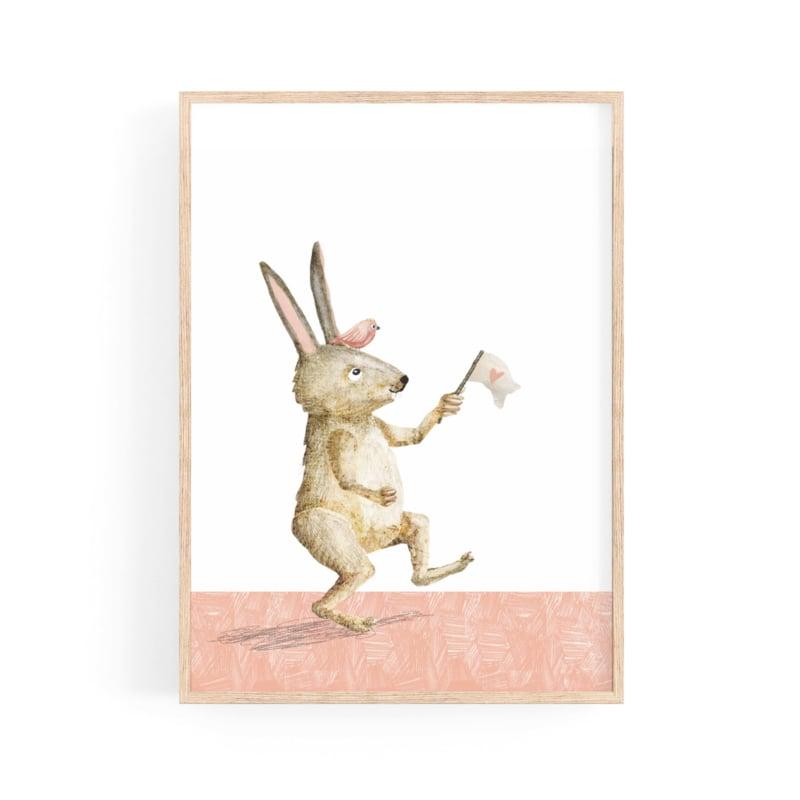 poster gek konijn met vlag met hartje  -A4