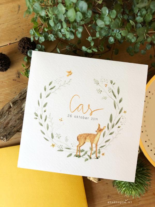 Geboortekaartje Cas! Krans takken met bosdieren