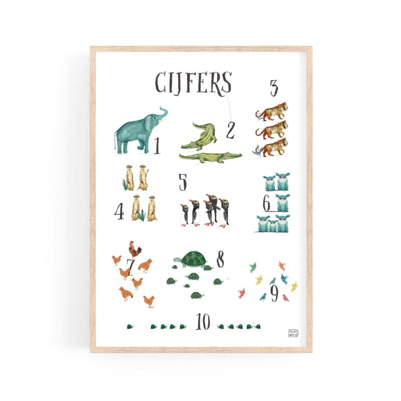 poster cijfers en dieren