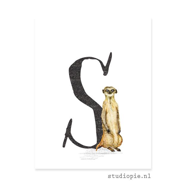 de S van STOKSTAARTJE   letterkaartje