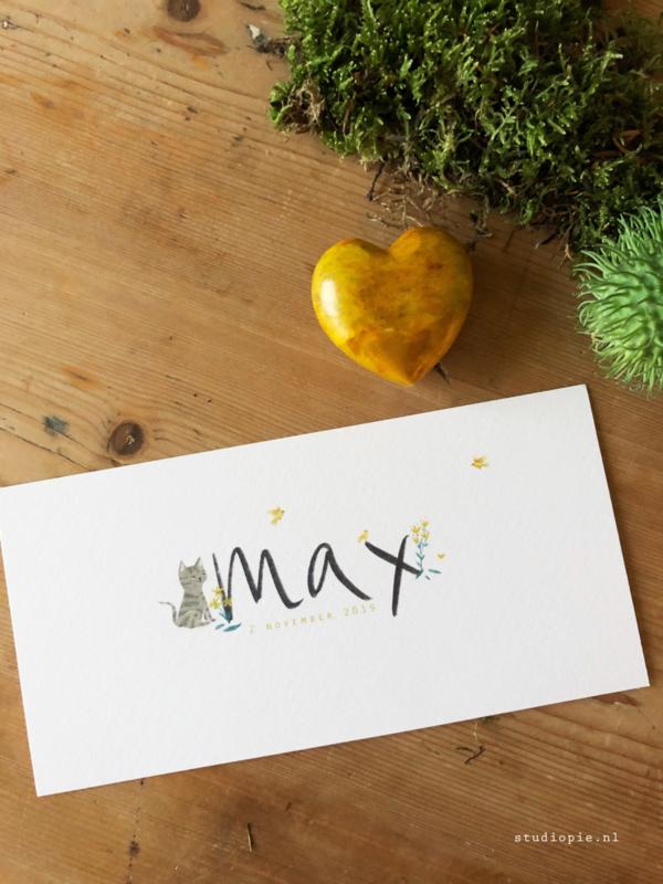 Geboortekaartje Max! Poes en vogeltjes