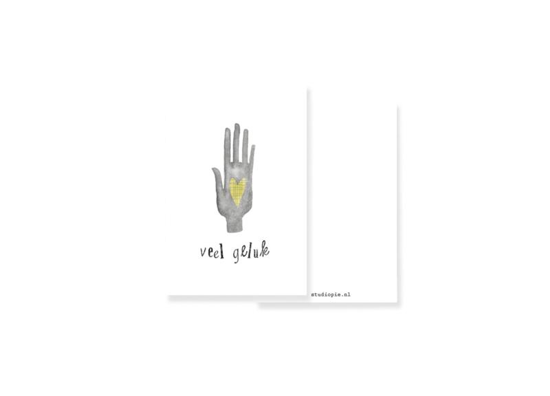 minikaart je veel geluk -hamsa hand | per 5