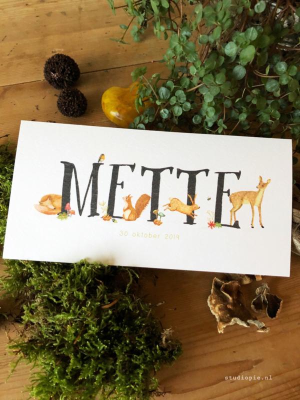 Geboortekaartje Mette! Herfst bosdieren, hertje, vos, eekhoorn