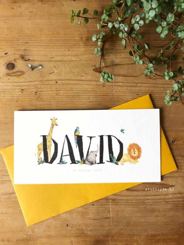 Geboortekaartje David! Jungle kaartje