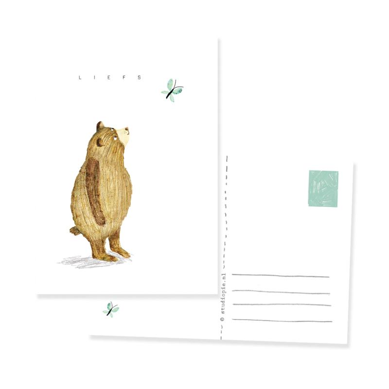 mooi ansichtkaartje met beer, liefs en vlinder