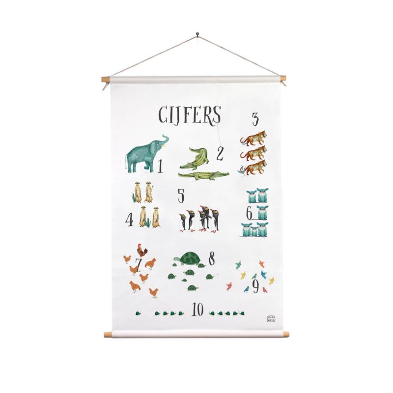 textielposter dierenalfabet cijfers