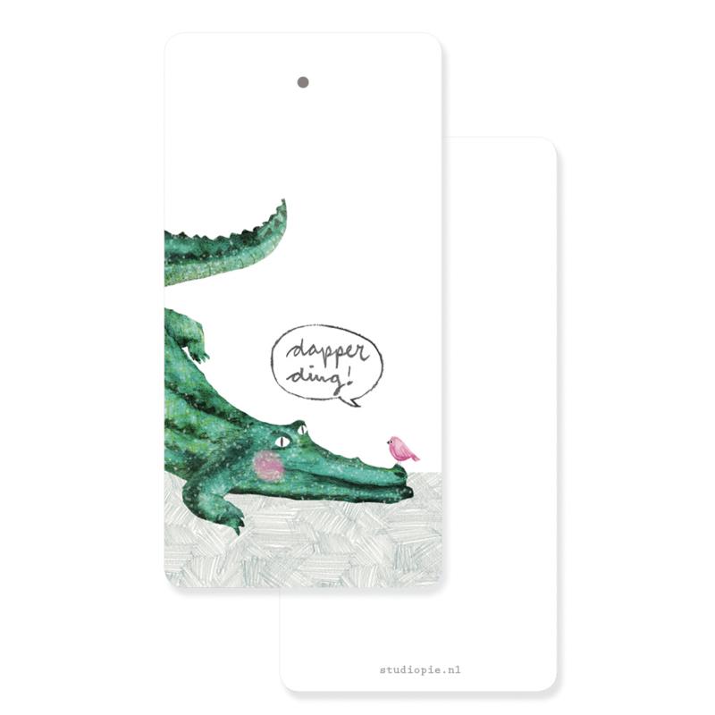 cadeaukaartje met krokodil: Dapper ding