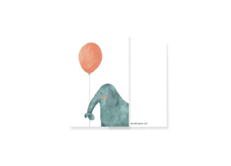 feestelijk minikaartje olifant met ballon | per 5