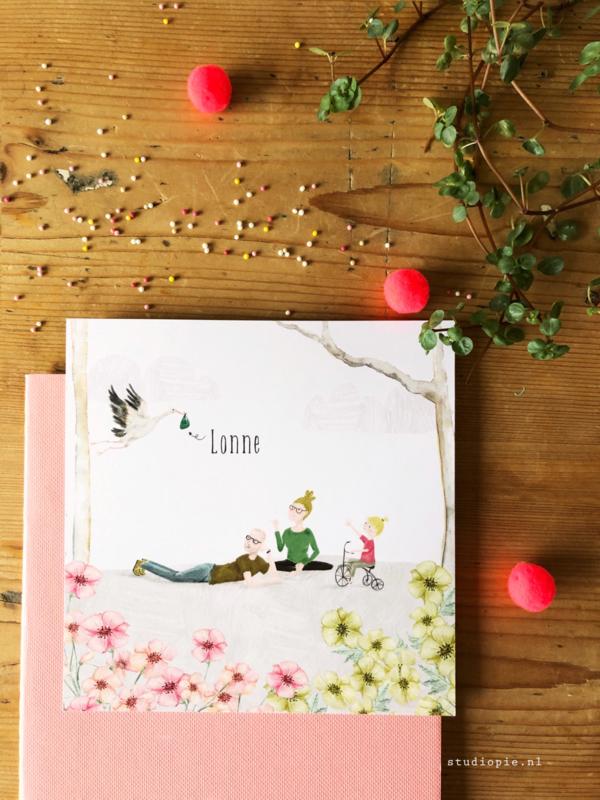 Geboortekaartje Lonne! Op maat gemaakt kaartje met meisje op driewieler en ooievaar