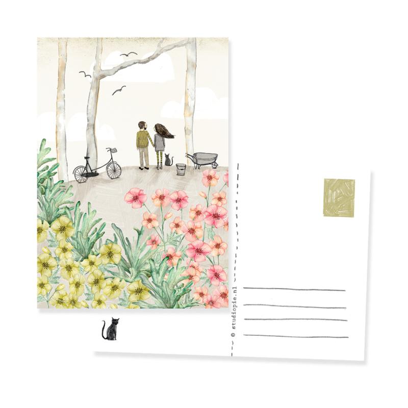 Romantisch kaartje Let's grow