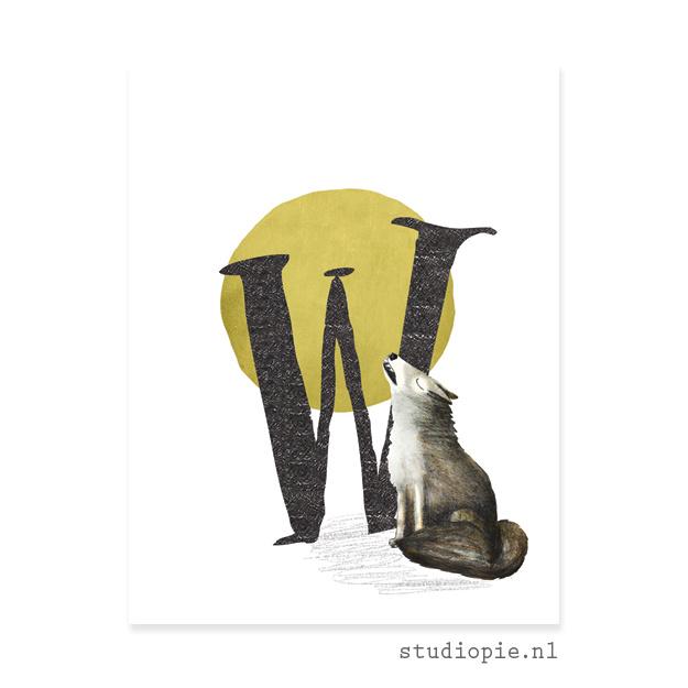 de W van WOLF   letterkaartje