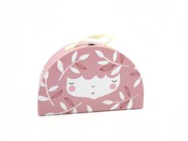Yuunaa | Kartonnen Koffertje Flower Face Roze - Klein