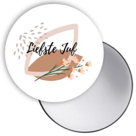 Esva Design | Spiegeltje Liefste Juf Bloemen (roze)