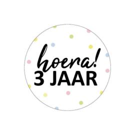 Sticker Hoera! 3 jaar