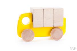 Bajo Houten Vrachtwagen met Blokken (geel)