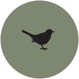 Label-R | Muurcirkel Vogel Olijfgroen