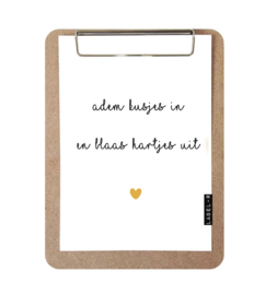 Label-R   Klembord Met Print Adem Kusjes In En Blaas Hartjes Uit (geel hart)