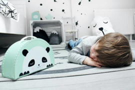 Kids Boetiek kartonnen koffertje Panda (mintgroen)